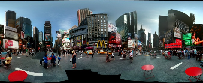 Panoramic 360 view of Times Square, New York.